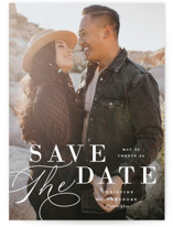 This is a white save the date postcard by Ashley Rosenbaum called Composition with standard printing on signature in postcard.