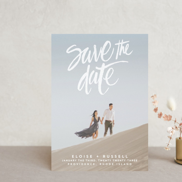"""""""Lovely Brush"""" - Save The Date Postcards in Frost by Aspacia Kusulas."""