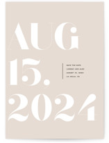 This is a beige save the date postcard by Annie Clark called Almanac with standard printing on signature in postcard.