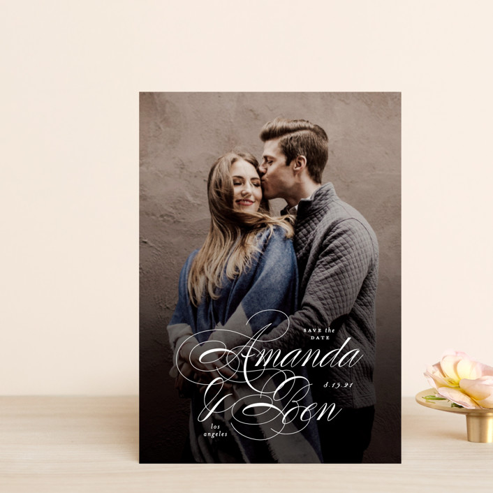 """Nestled"" - Classical, Formal Save The Date Postcards in Cream by Roxy Cervantes."