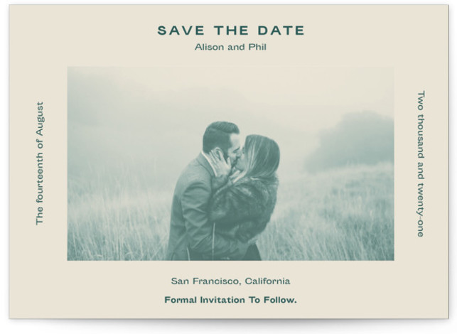 This is a bold and typographic, simple and minimalist, green Save the Dates by Jack Knoebber called Flyer with Standard printing on Signature in Postcard Flat Card format. Typography around a photo.