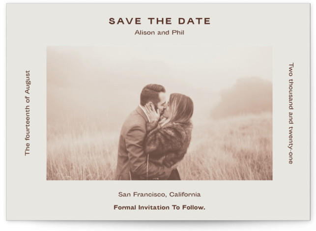 This is a bold and typographic, simple and minimalist, brown Save the Dates by Jack Knoebber called Flyer with Standard printing on Signature in Postcard Flat Card format. Typography around a photo.