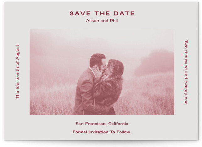 This is a bold and typographic, simple and minimalist, purple Save the Dates by Jack Knoebber called Flyer with Standard printing on Signature in Postcard Flat Card format. Typography around a photo.