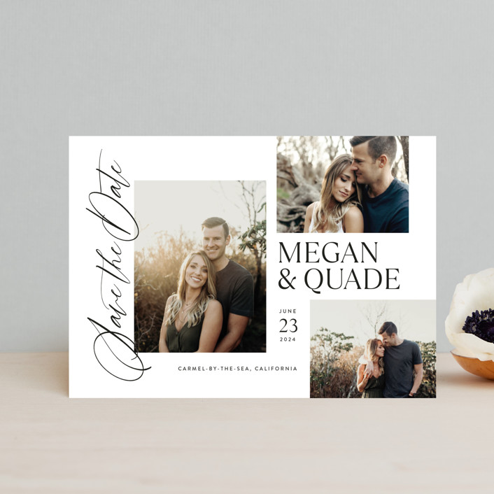 """""""Editorial Trio"""" - Save The Date Postcards in Snow by Jill Means."""