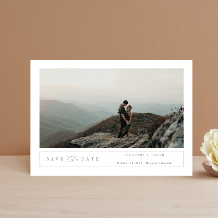 """""""Simple Grid"""" - Save The Date Postcards in Fog by Kristen Smith."""