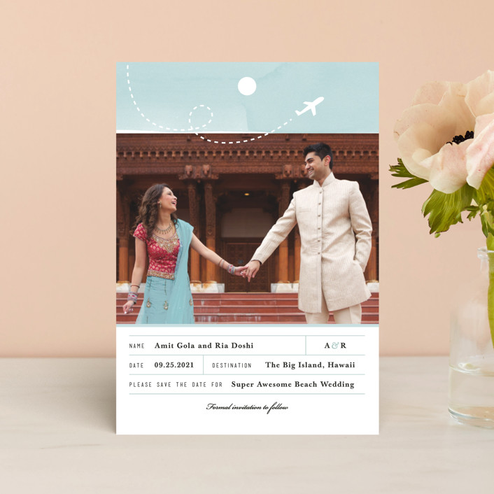 """""""Destination Of Love"""" - Save The Date Postcards in Sky by Four Wet Feet Studio."""