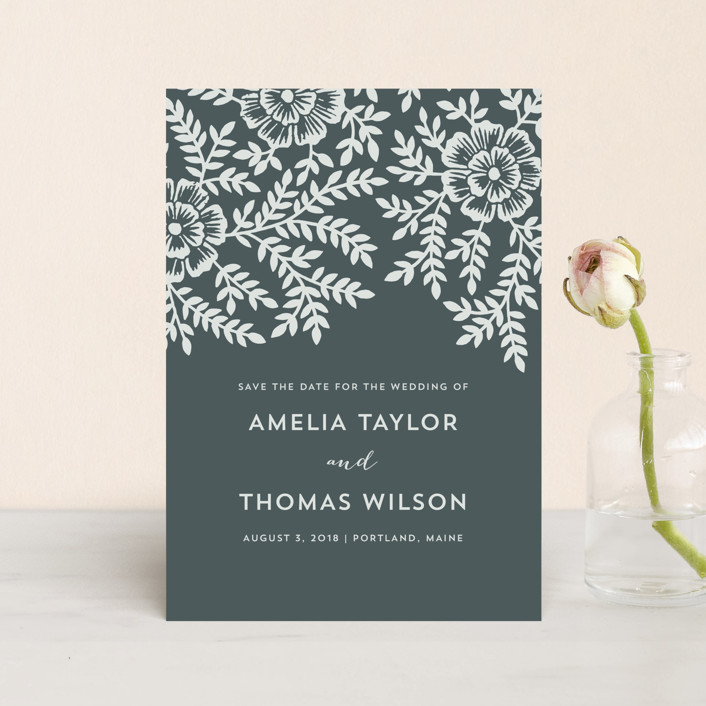 """""""Leaves and Kraft"""" - Rustic Save The Date Postcards in Blue Slate by Katharine Watson."""