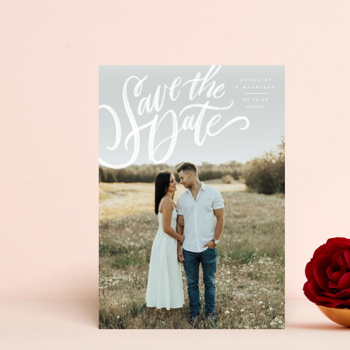 """""""Love Letters"""" - Save The Date Postcards in Daisy by Wildfield Paper Co."""