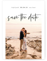 This is a black save the date postcard by Katy Shen called Headlining Announcement with standard printing on signature in postcard.