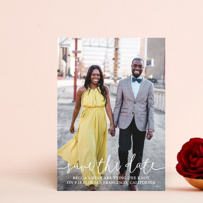 """Boho Love"" - Save The Date Postcards in Lily by Christine Taylor."