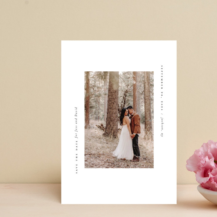 """True Minimalist"" - Save The Date Postcards in Moon by Heather Cairl."