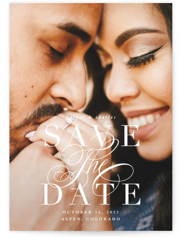 This is a classic and formal, classical, formal, white Save the Dates by Lauren Chism called Bonita with Standard printing on Signature in Postcard Flat Card format. An uber elegant save the date featuring a beautiful flourished script with a ...