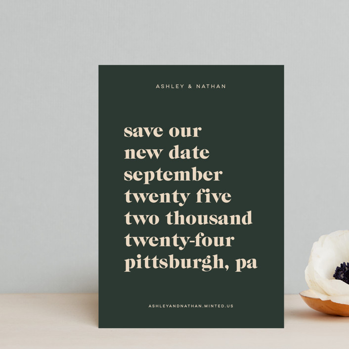 """""""Modern Type"""" - Save The Date Postcards in Spruce by April Astudillo."""
