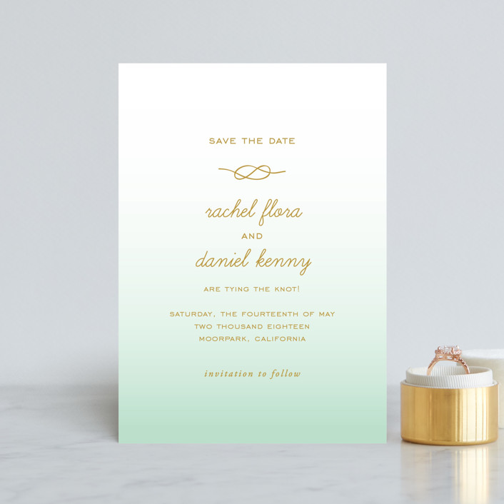 """""""Simple Knot"""" - Save The Date Postcards in Mint by SimpleTe Design."""