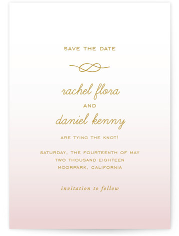 This is a portrait painterly, pink Save the Dates by SimpleTe Design called Simple Knot with Standard printing on Signature in Postcard Flat Card format. Smart and chic, our indie designed postcards let you announce your wedding date while saving ...