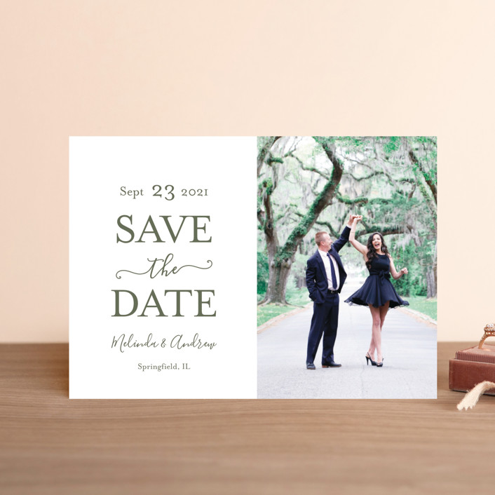 """Elegant Save"" - Save The Date Postcards in Moss by raven erebus."