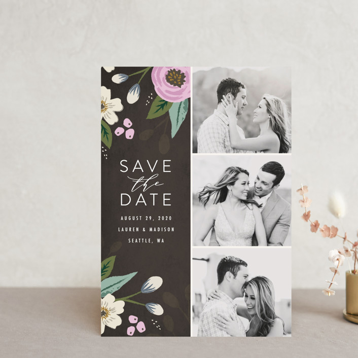 """""""Love in Bloom"""" - Save The Date Postcards in Blush by Karidy Walker."""