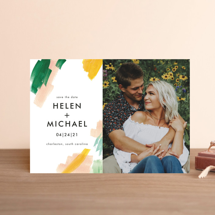 """""""Hamptons"""" - Modern Save The Date Postcards in Melon by Erika Firm."""