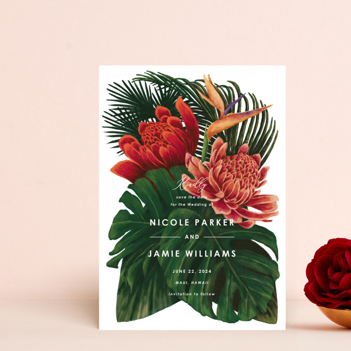 """""""Tropical Bouquet"""" - Save The Date Postcards in Basil by Elly."""
