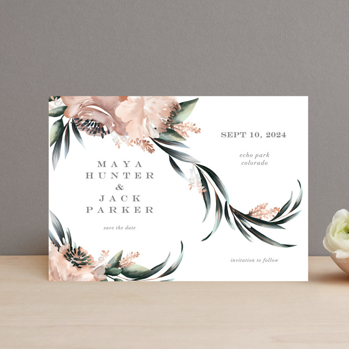 """Maya Rustica"" - Save The Date Postcards in Rose by Petra Kern."