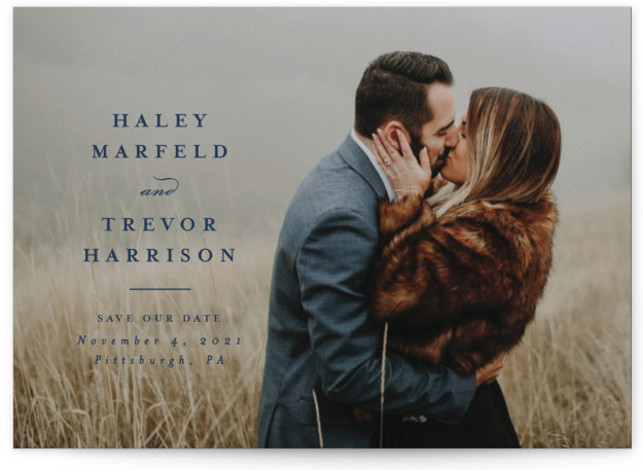 This is a classic and formal, blue Save the Dates by Lea Delaveris called Simple side with Standard printing on Signature in Postcard Flat Card format. Single full bleed photo with classic and simple typography that highlights the couple's names. ...