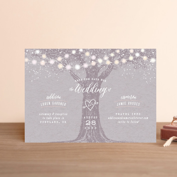 """""""Garden Lights"""" - Rustic Save The Date Postcards in Lavender by Hooray Creative."""