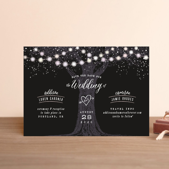 """""""Garden Lights"""" - Rustic Save The Date Postcards in Midnight by Hooray Creative."""