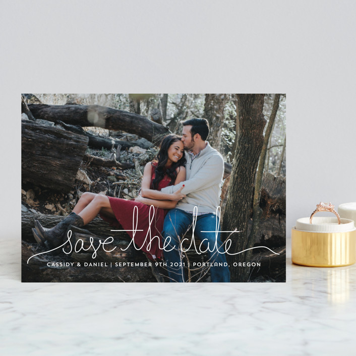 """Revelry"" - Bohemian Save The Date Postcards in Lily by Design Lotus."