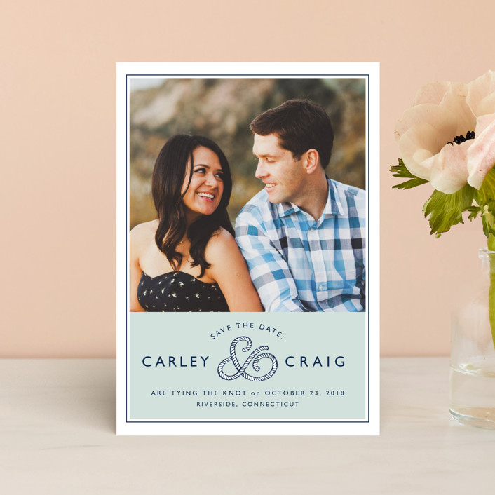 """""""Rope Ampersand"""" - Preppy Save The Date Postcards in Seafoam by Jill Means."""