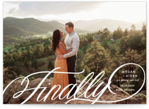 This is a white save the date postcard by Jill Means called Finally Getting Married with standard printing on signature in postcard.