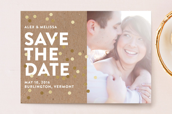 """""""Confetti Glitz Photo"""" - Modern Save The Date Postcards in Cloud by Ashley Hegarty."""
