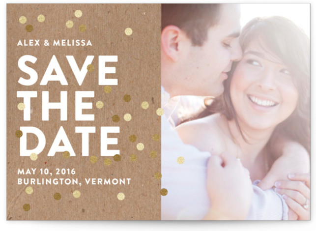 This is a landscape modern, white Save the Dates by Ashley Hegarty called Confetti Glitz Photo with Standard printing on Signature in Postcard Flat Card format. Smart and chic, our indie designed postcards let you announce your wedding date while ...