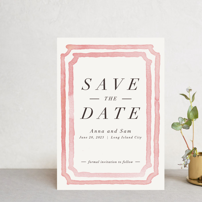 """Watercolor Frame"" - Bohemian Save The Date Postcards in Coral by Laura Condouris."