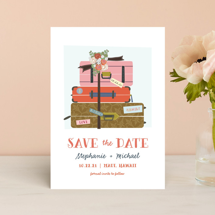 """""""Luggage"""" - Save The Date Postcards in Coral by Rebecca Bowen."""
