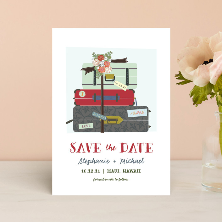 """""""Luggage"""" - Save The Date Postcards in Crimson by Rebecca Bowen."""
