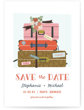 This is a portrait illustrative, orange Save the Dates by Rebecca Bowen called Luggage with Standard printing on Signature in Postcard Flat Card format. All packed and ready to wed!
