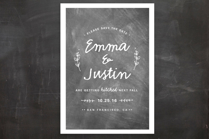 """Whimsical Hitch"" - Rustic Save The Date Postcards in Chalkboard by WHALEN."