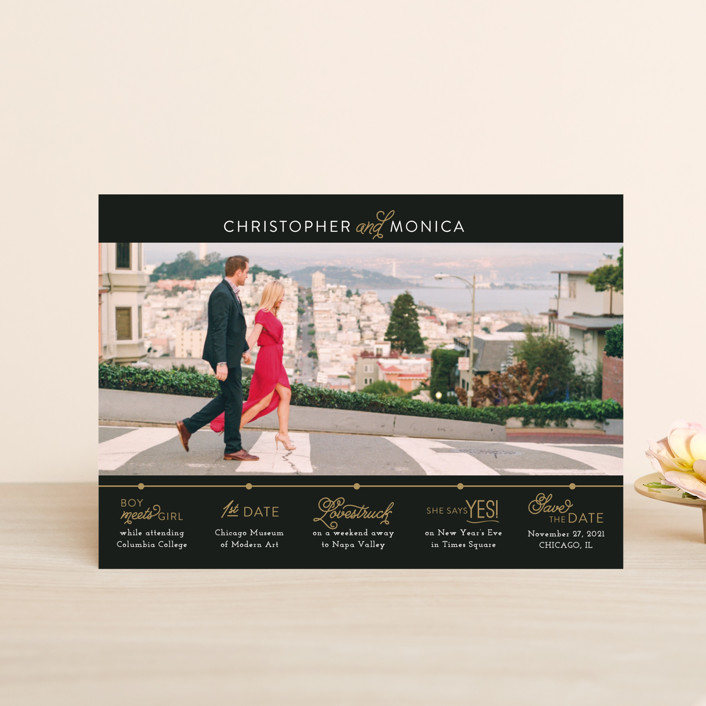 """""""Our Timeline"""" - Modern Save The Date Postcards in Onyx by Jessie Steury."""