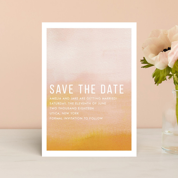"""Ombre"" - Save The Date Postcards in Mandarin by Dean Street."