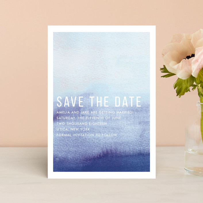 """Ombre"" - Save The Date Postcards in Indigo by Dean Street."
