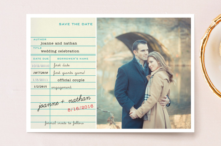 library card save the date postcards in teal by simplete design