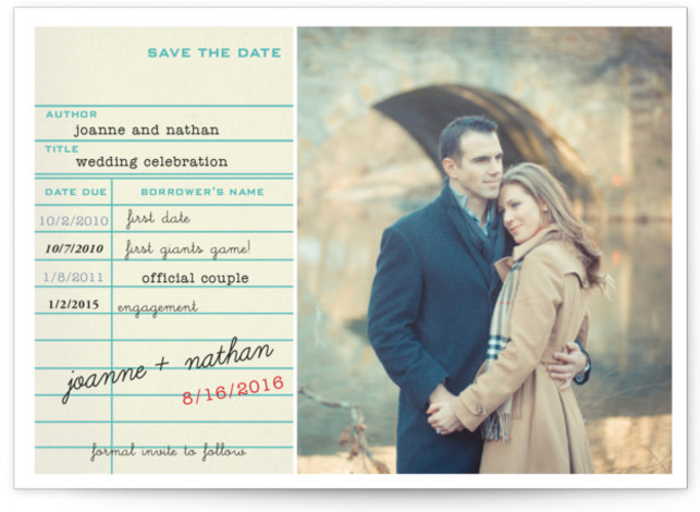 This is a landscape, portrait offbeat, blue Save the Dates by SimpleTe Design called Library Card with Standard printing on Signature in Postcard Flat Card format. Smart and chic, our indie designed postcards let you announce your wedding date while ...