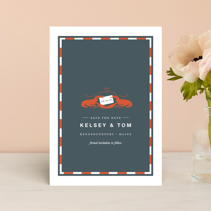 """The Maine Event"" - Preppy Save The Date Postcards in Deep Sea by Oscar & Emma."