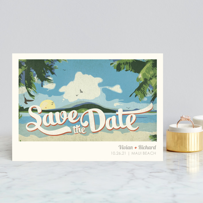 """""""Vintage Tropical"""" - Save The Date Postcards in Vibrant by Rebecca Bowen."""