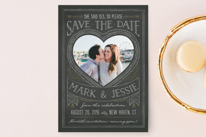 """""""Chalkboard Heart"""" - Whimsical & Funny Save The Date Postcards in Old Gold by Ann Gardner."""