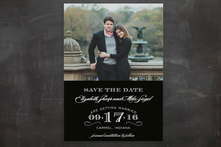 """Soiree"" - Formal, Elegant Save The Date Postcards in Tuxedo by Sarah Brown."
