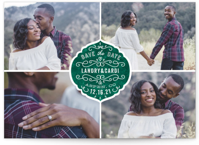 This is a landscape, portrait vintage, green Save the Dates by Bonjour Paper called Festive Love with Standard printing on Signature in Postcard Flat Card format. Announce your big day with this multiple photo save the date featuring a label ...