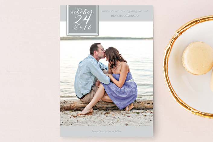 """""""Effortless Love"""" - Simple, Elegant Save The Date Postcards in Ash by Sweet and Crafty."""