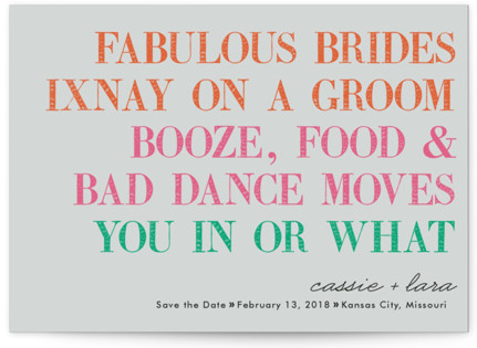 You In Or What (Two Brides) Save the Date Postcards