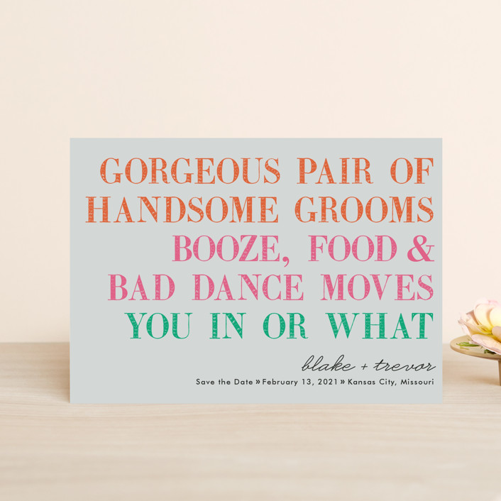 """You In Or What (Two Grooms)"" - Whimsical & Funny Save The Date Postcards in Bright Pink by hi-lighter inc.."